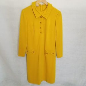 1950s Kay Windsor Mustard Yellow Shift Dress